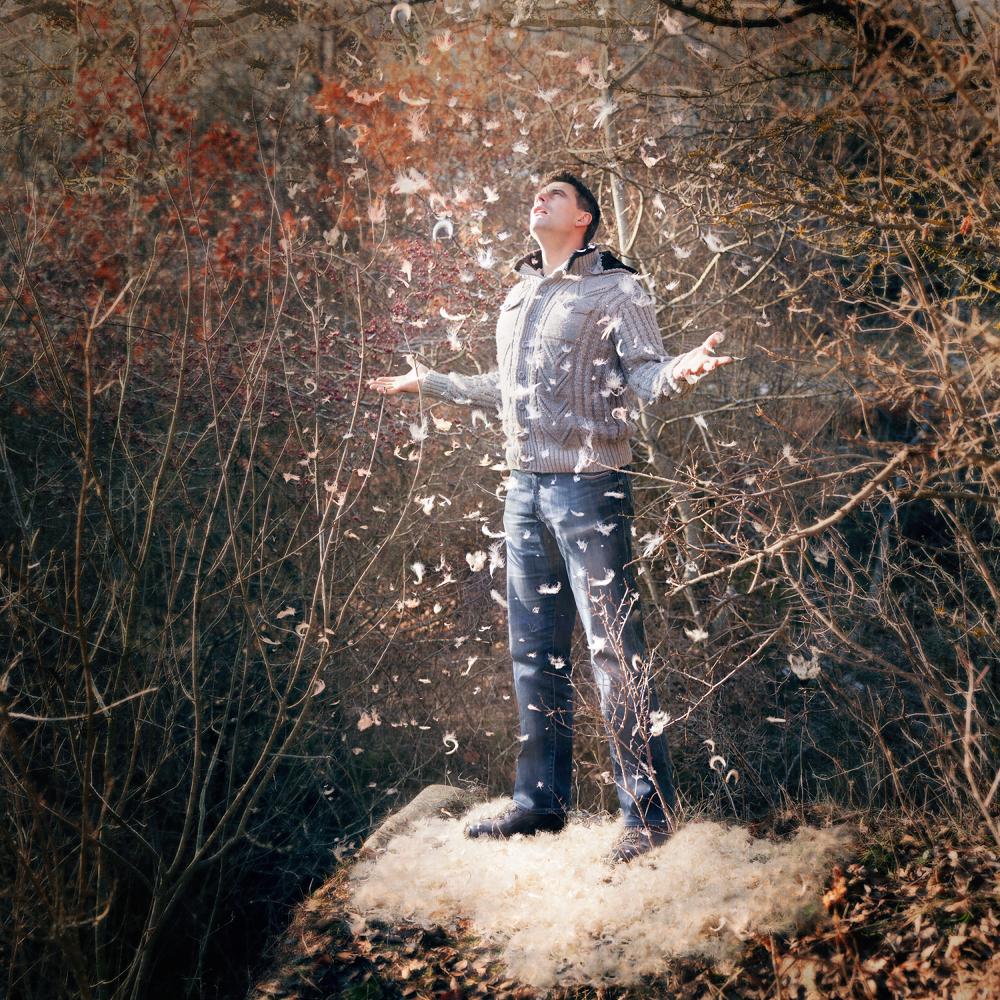 Photo in Fine Art #snow #winter #shrub #man #waiting