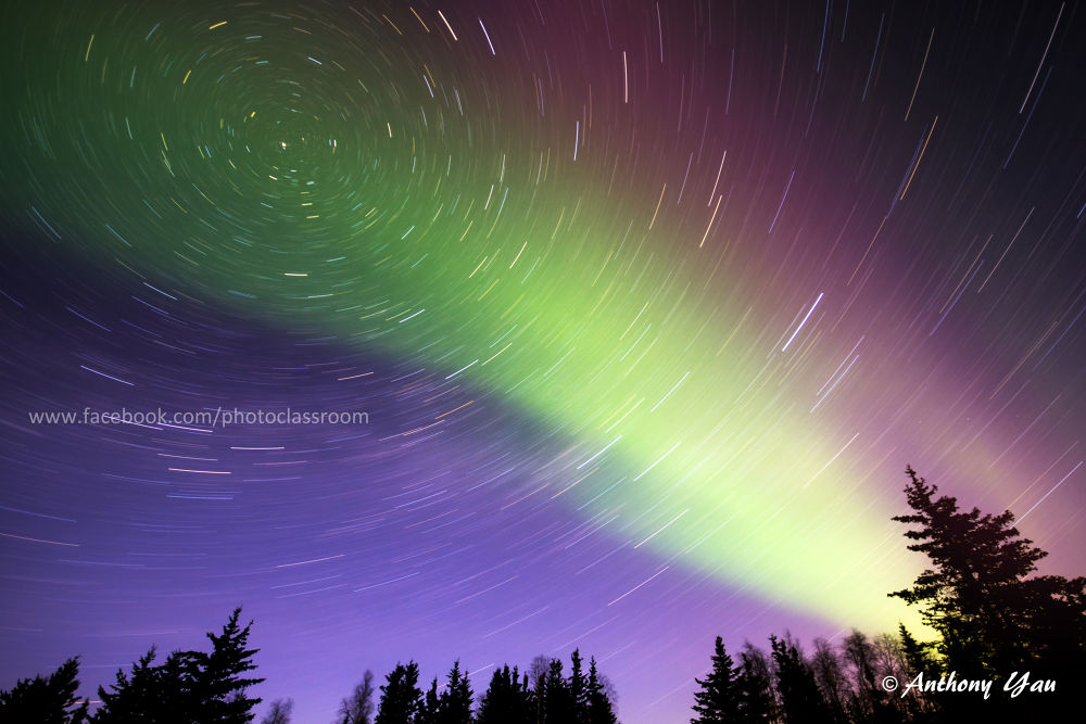Amazing Northern Lights with Star Trails by Anthony Yau
