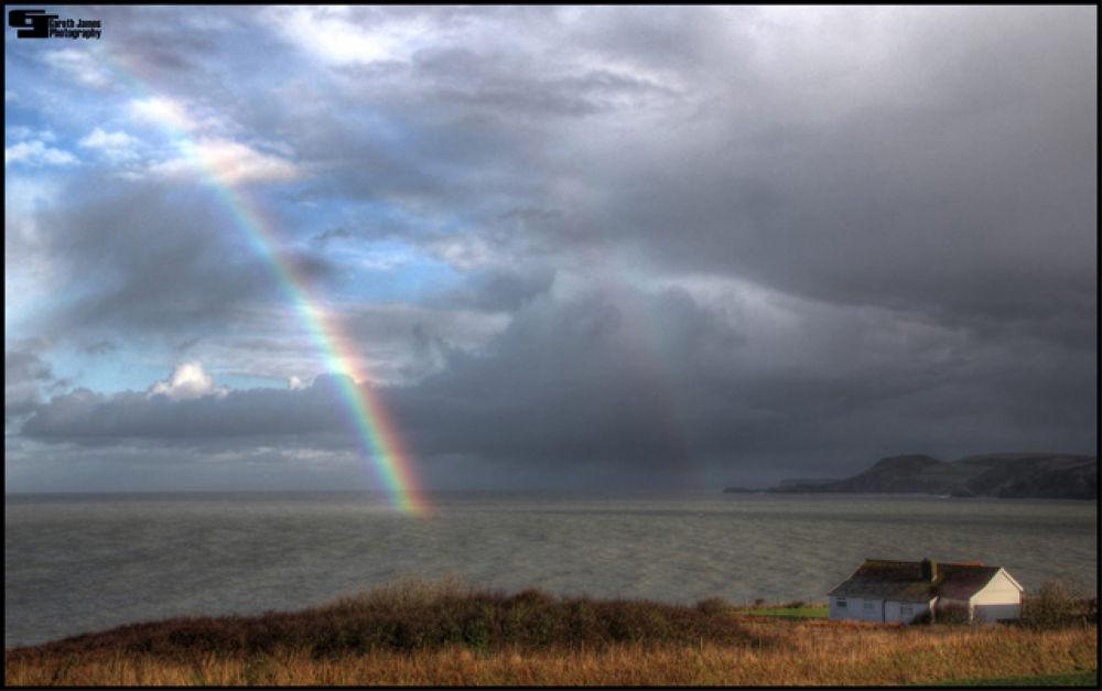 Rainbow in cardigan bay by Gareth James