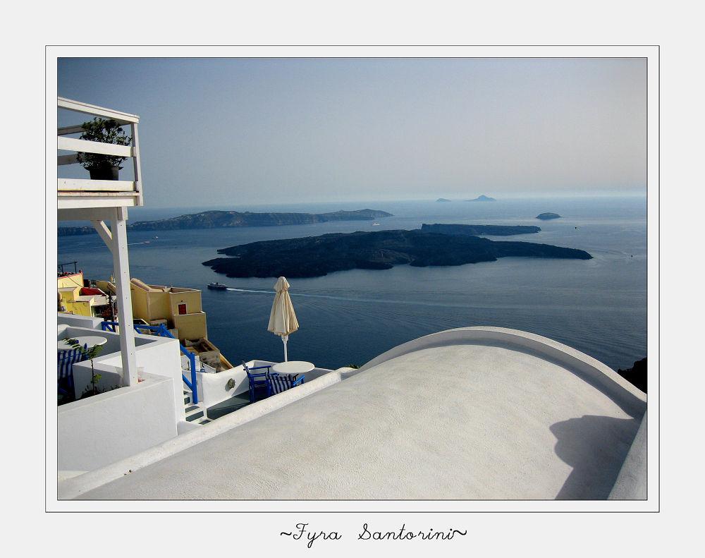 Photo in Landscape #summer #view #ship #island #house #beautiful #blue #ocean #beauty #sea #volcano #balcony #mykonos #yellow #home #greece #umbrella #santorini #blue sky #kuklades #fura #mediteranean