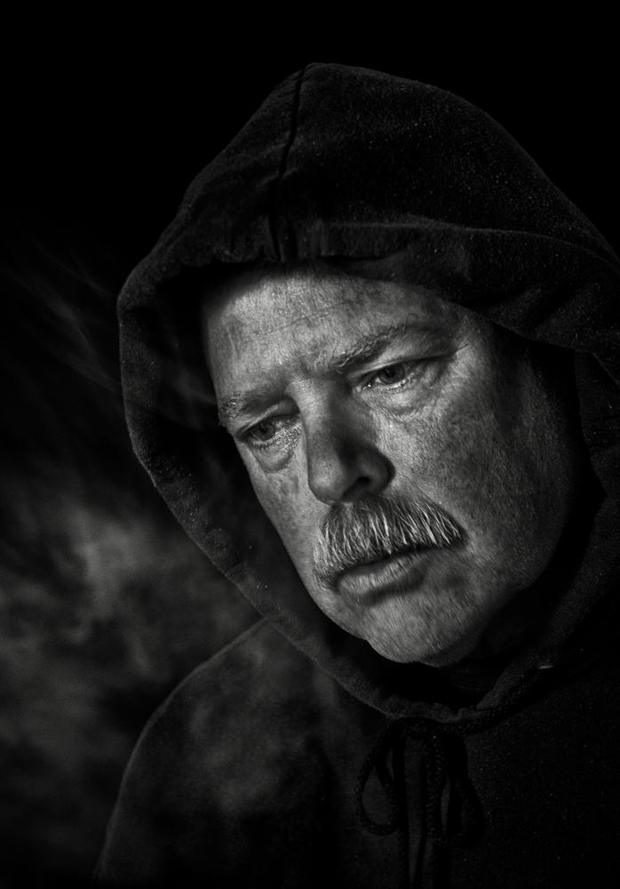 Photo in Black and White #black and white #cold #outside #hoody #moustash #tired #vapor #monochrome #selfie #aged #wrinkles #contrast #portrait