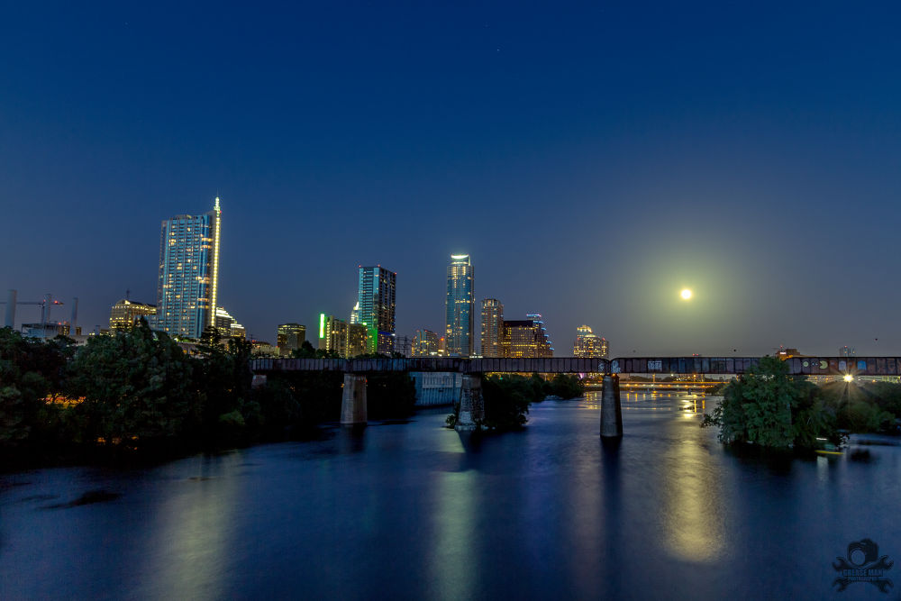 Austin Skyline Moon Rise by greasemanhimself