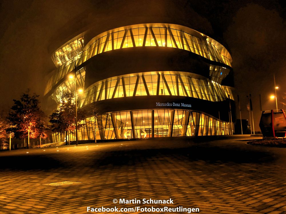 Stuttgart by Night. Mercedes Museum by Martin Schunack