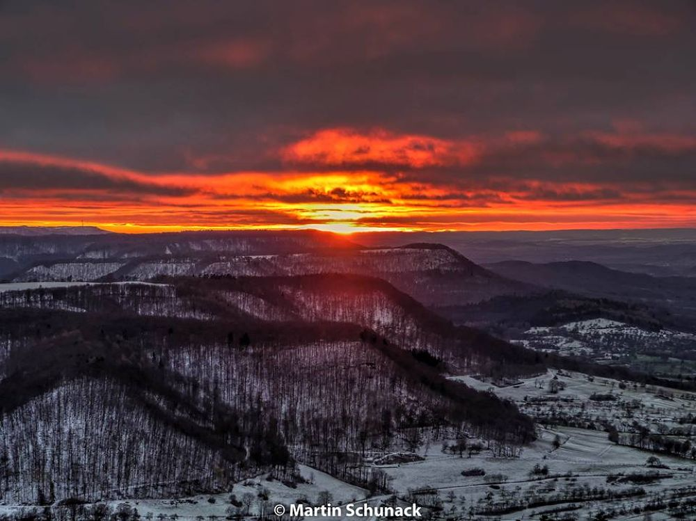 Sunset Swabian Alb by Martin Schunack