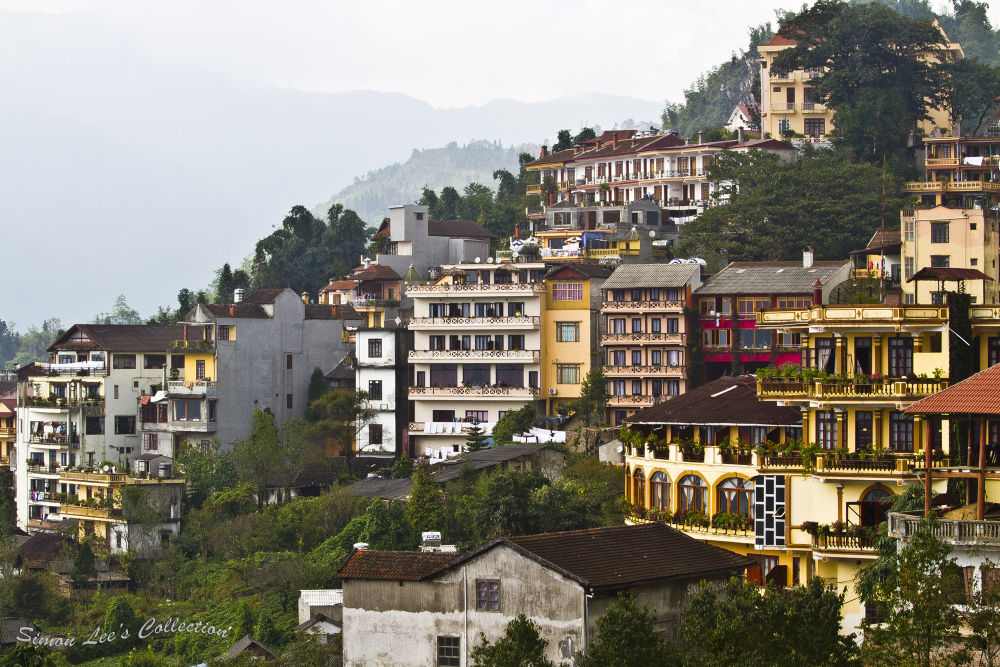 Hillslope buildings at Sa Pa town, Vietnam by simoncklee