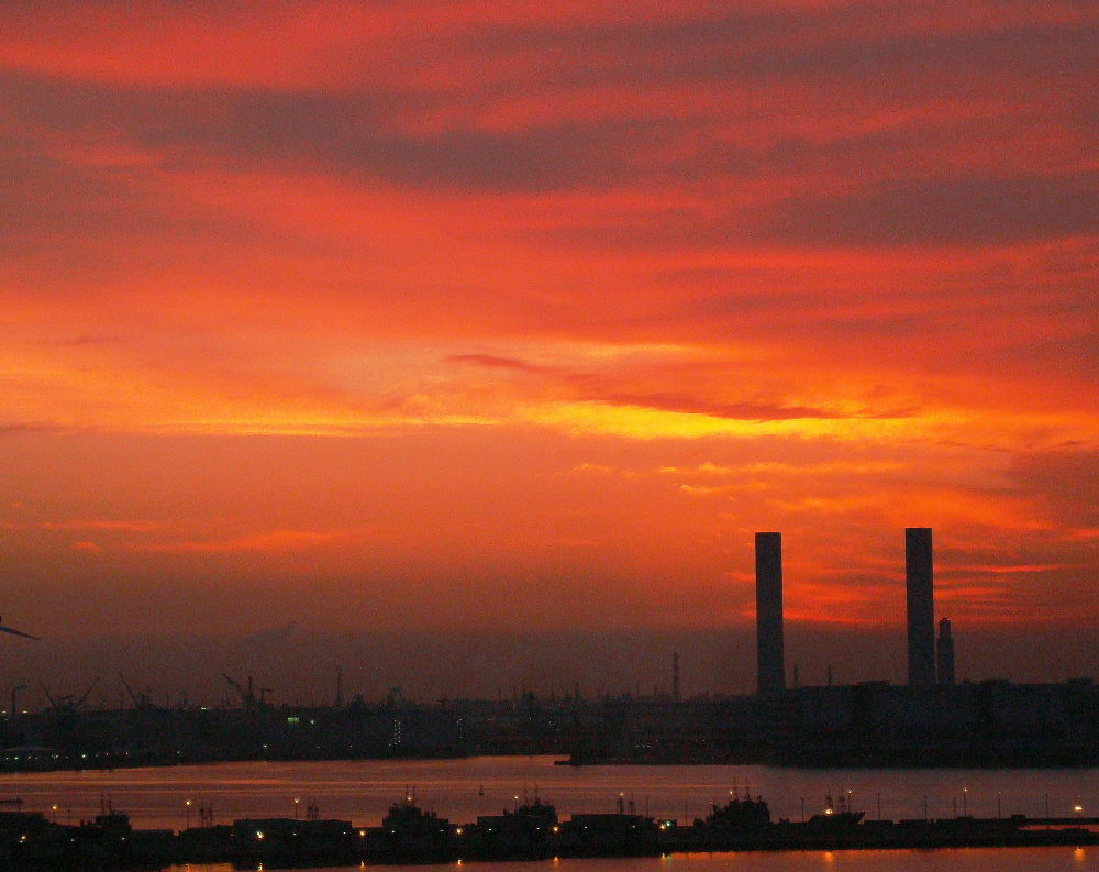 Dawn at the port by shigeo yukizawa