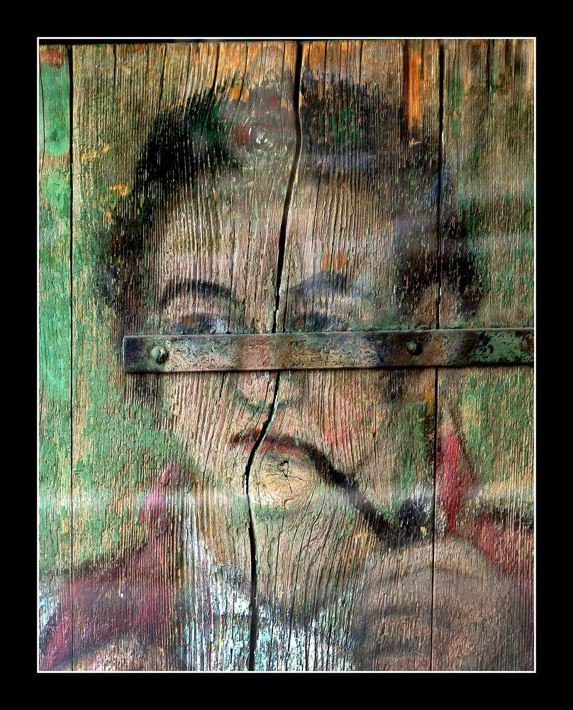 Portrait on the door of an old house. Appenzeller. Switzerland.DSC08404 by vladymyr novgorodov