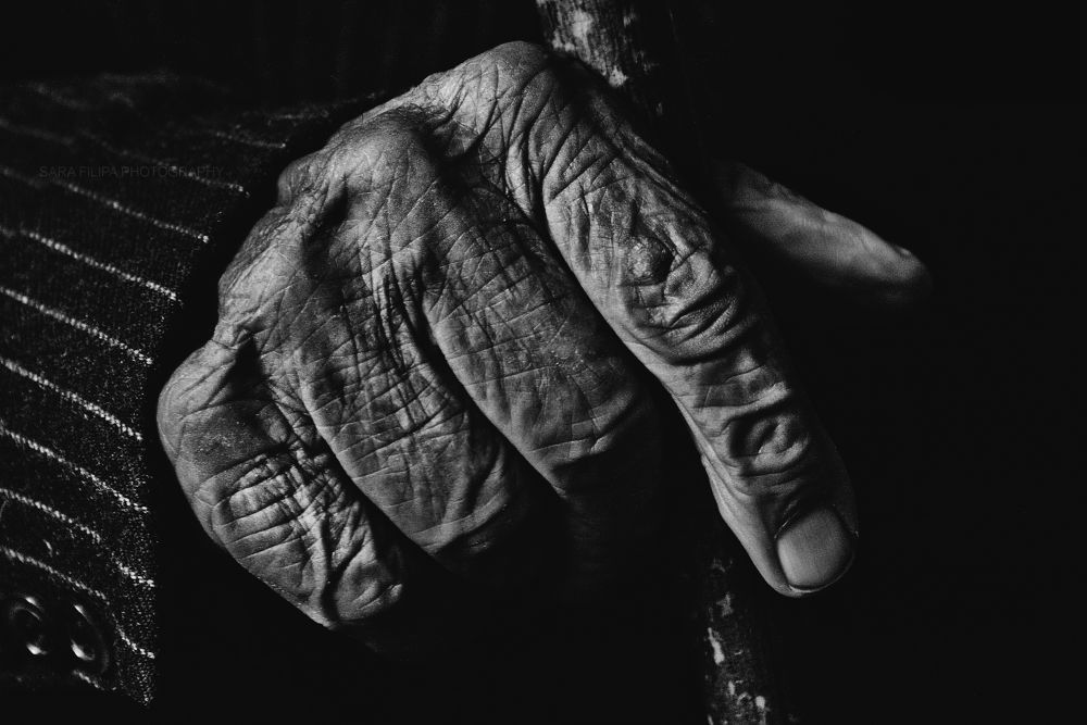 Photo in Black and White #old #man #hand #fingers