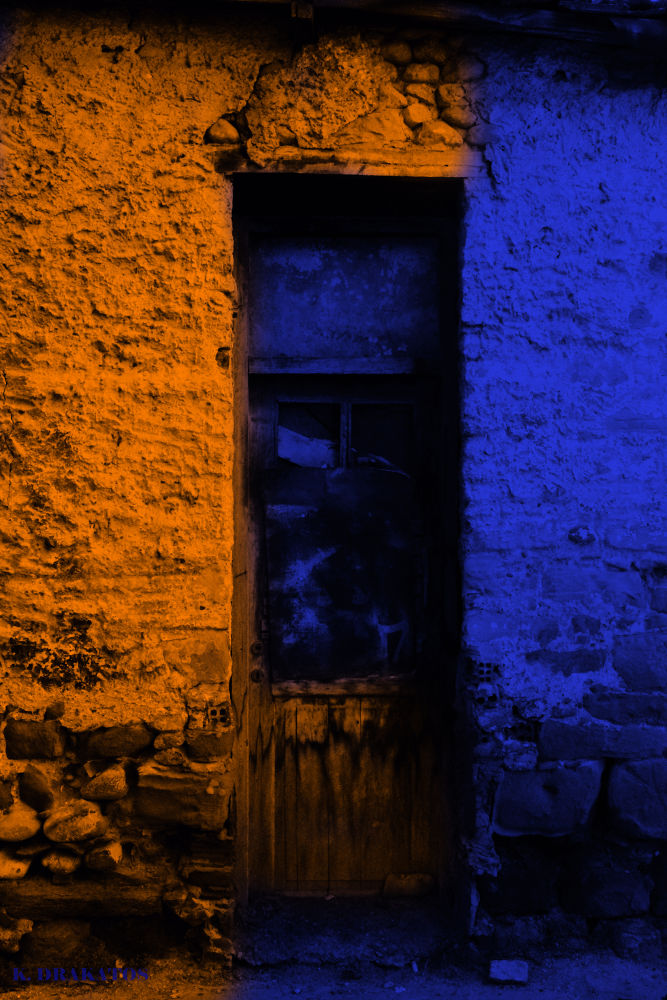 Photo in Still Life #orange #blue #door #old #abandoned #wood #rock