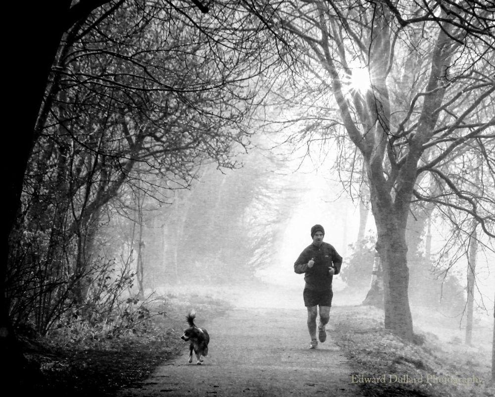 Misty morning runners. by EdwardDullard