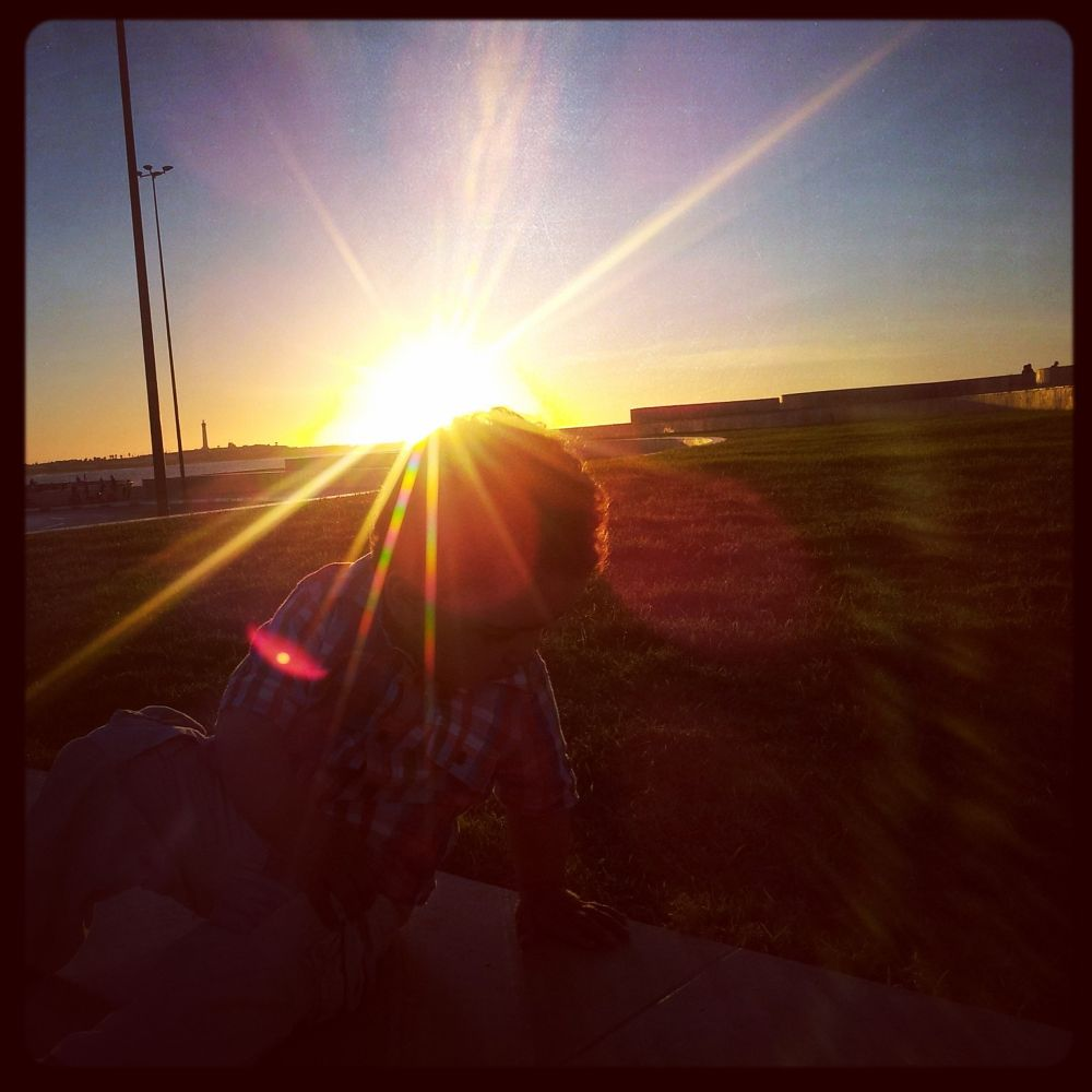 my son, sunset by Oussama Moursil