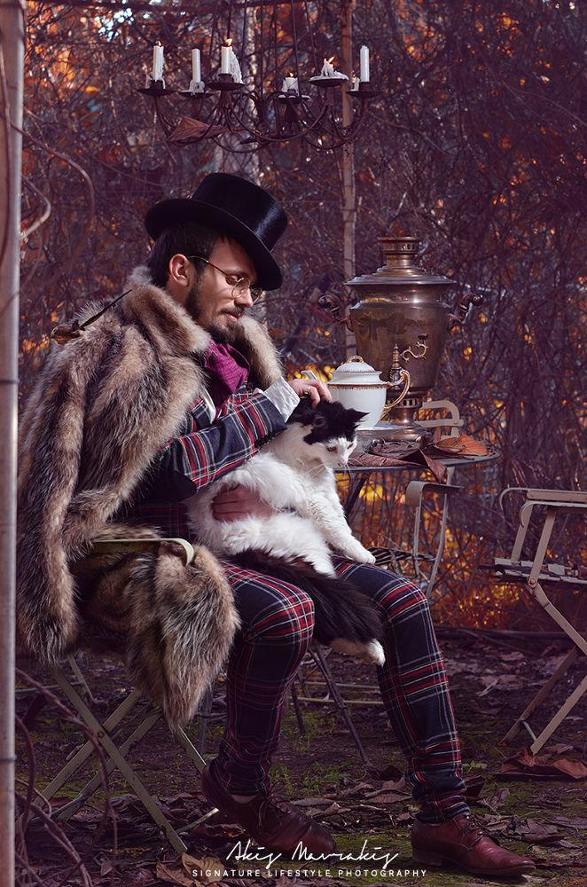 Photo in Fine Art #fairytale #wedding #gentleman #cat #fashion #vintage #fur #hat #passion #man #groom #photography #model #styling #retro #acting