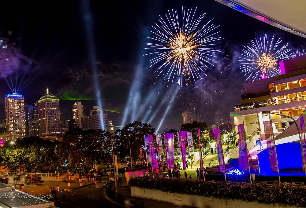Brisbane city fireworks by Ali Saadat