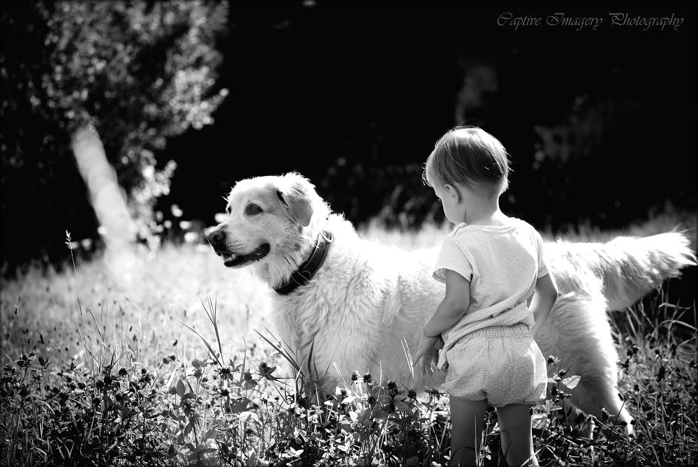 Photo in Black and White #kids #dogs