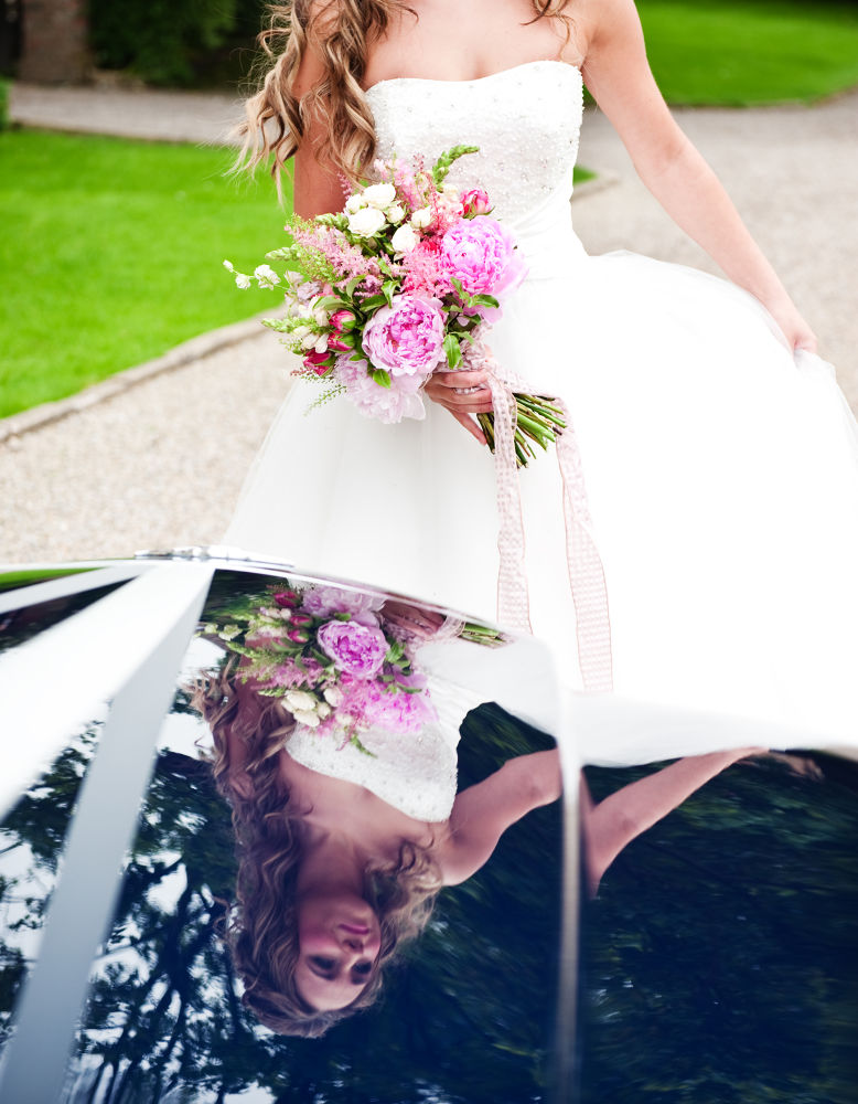 Bridal car reflection by McAvoyPhoto