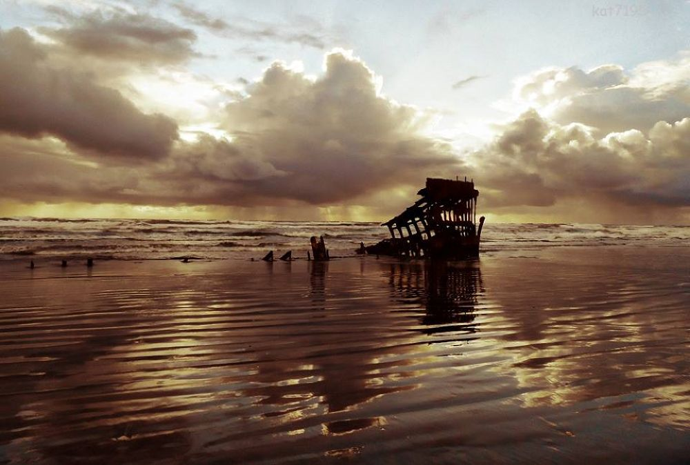 Wreck of the Peter Iredale.  Hammond, Oregon by Kim Taylor