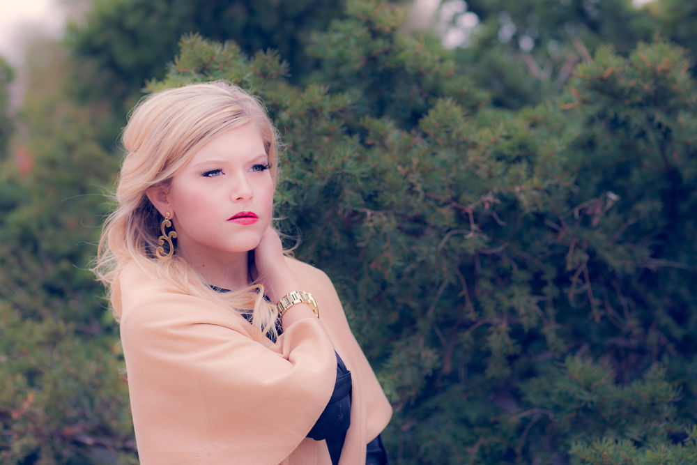 Photo in Portrait #pines #urban prairie photography #fashion #pretty #clothing #gold #winter #woods