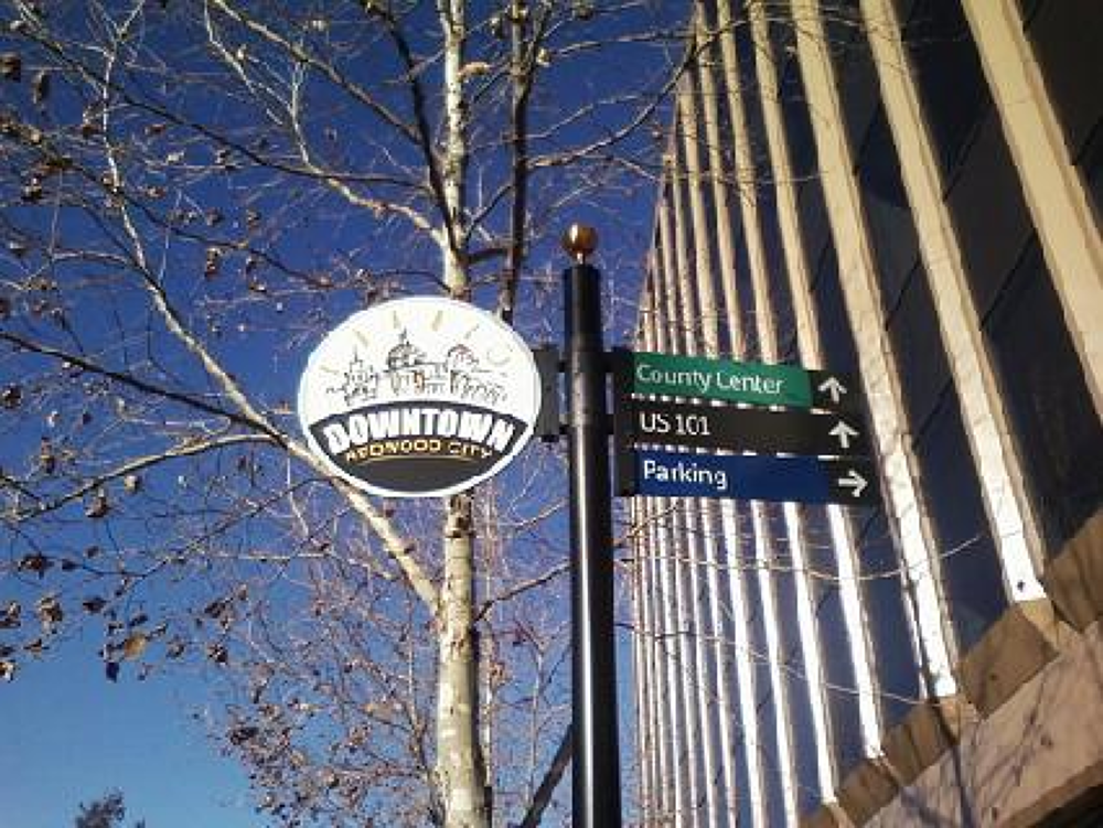 Photo in Random #downtown redwood city #trees #sign for directions #redwood city