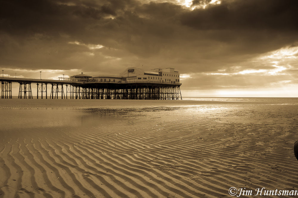 Photo in Black and White #sea #north pier #sunset #sand #sandview #moody sky