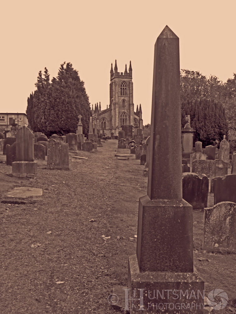Photo in Black and White #church #b&w #grave yard #landscape #trees