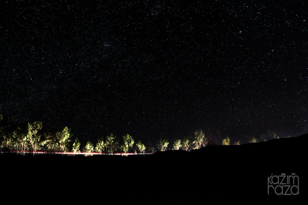 light trails with stars. by Kazim Raza