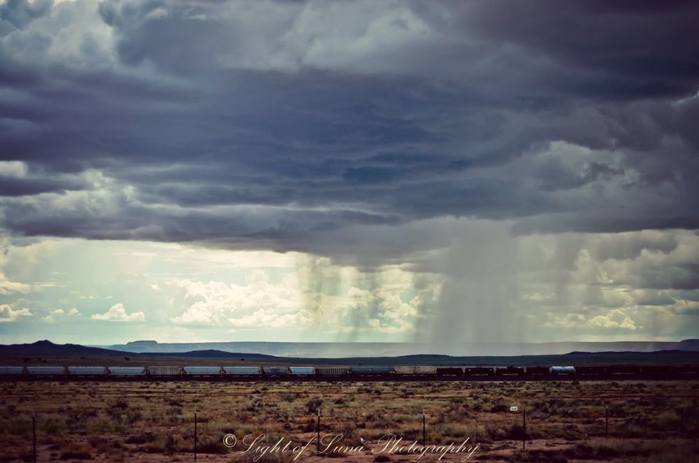 Photo in Travel #rain #travel #landscape #trains #new mexico #desert #light of luna photography #west #route 66