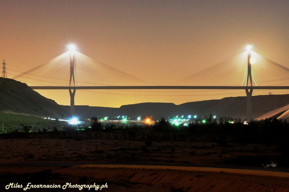 Wadi Laban Bridge - Nightlight  by Miles Encarnacion