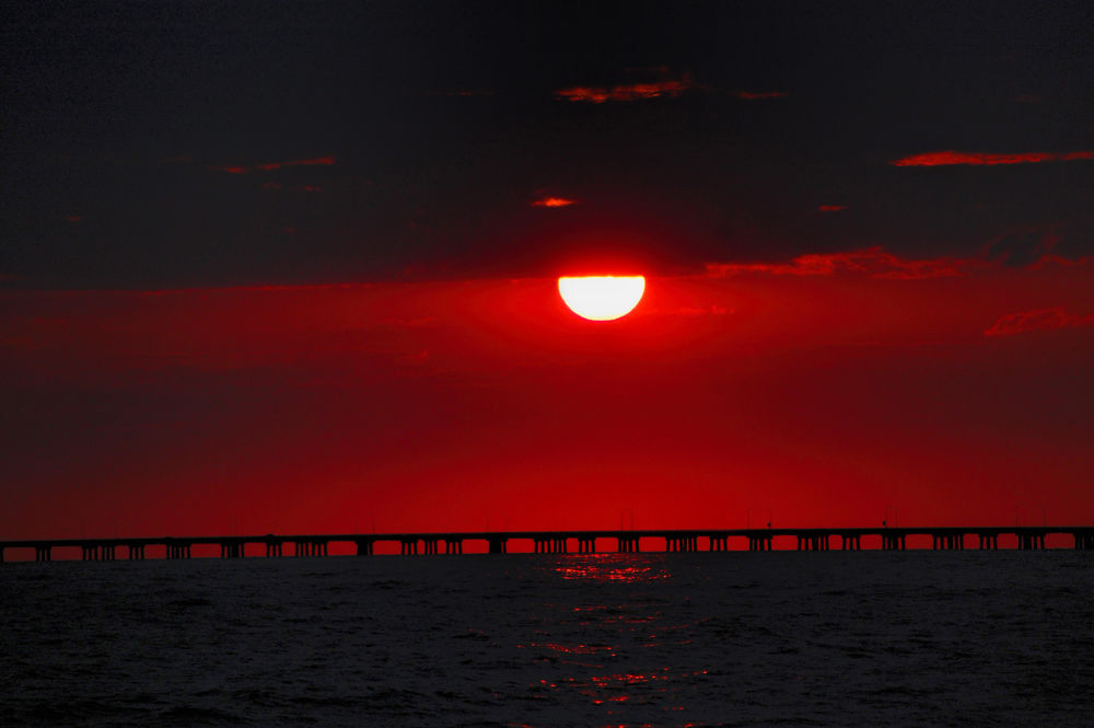 CBBT Red Sunset by Lanie Avery