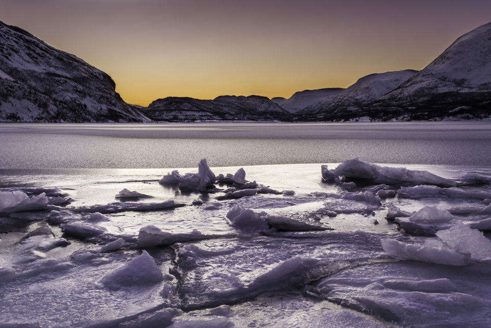 Photo in Landscape #ice #norway #alta #wild #kold #north #water #sea #yellow #magic