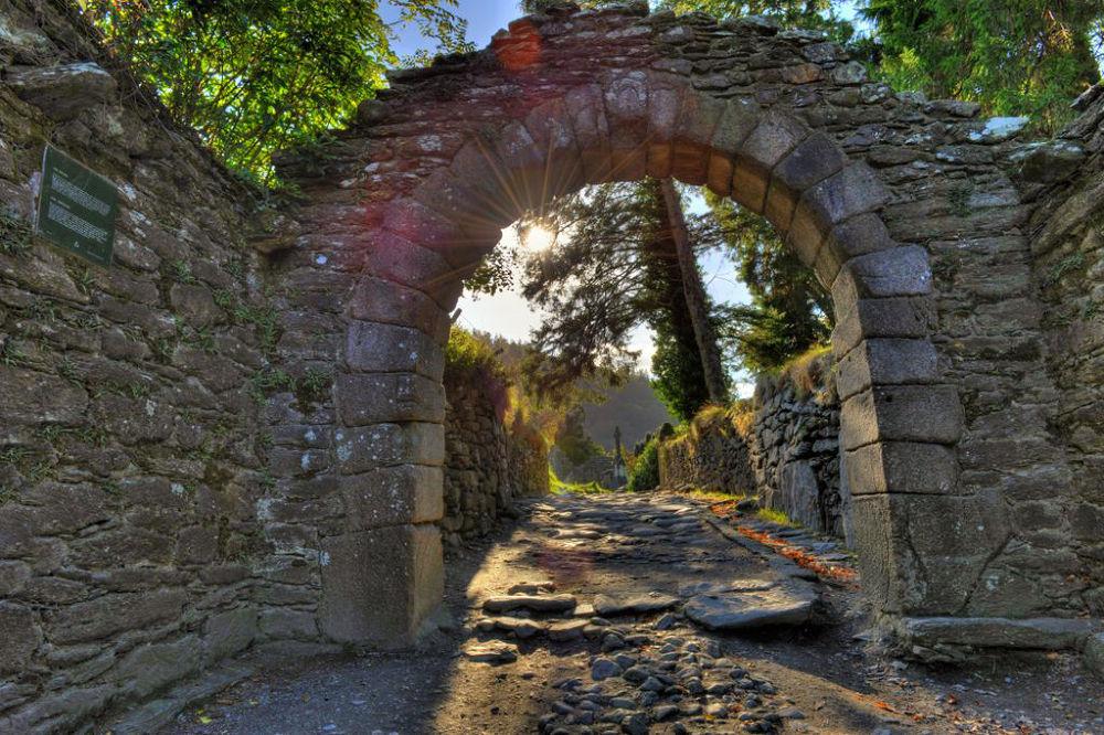 Photo in HDRI #sunrays #monastery #glendalough
