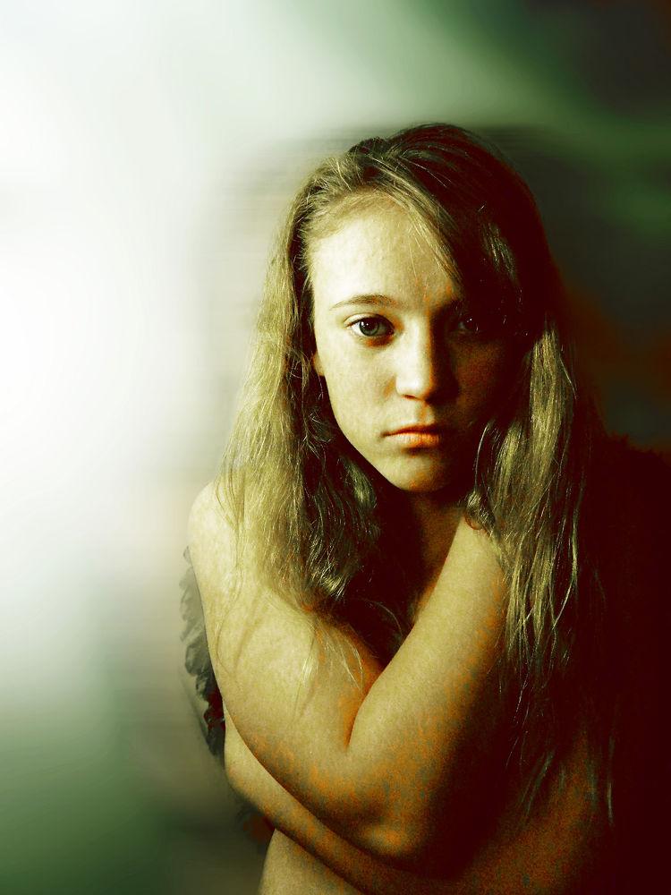 Photo in Portrait #innocent #eyes #nude #model #beautiful #portrait #lighting #angel #broken