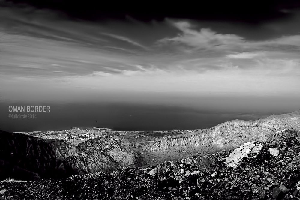 Photo in Black and White #oman #border #black & white #mountain #landscape #rocks #sky #fullcircle