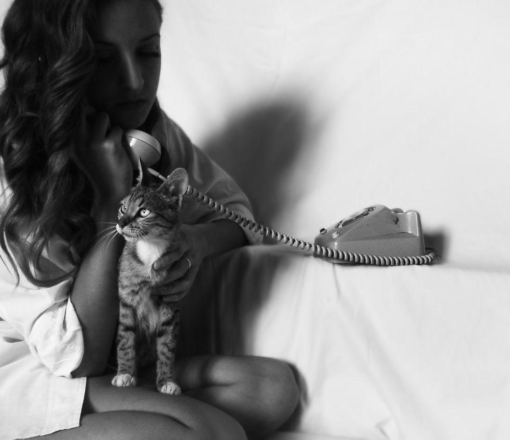 Photo in Black and White #cat girl black white tele