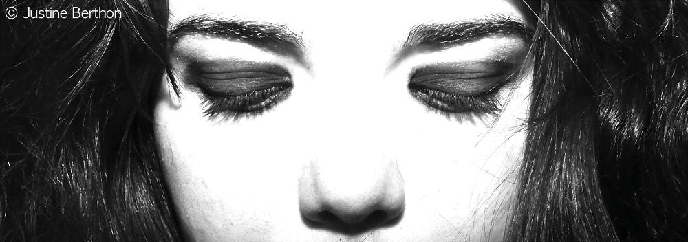 Photo in Black and White #nikon d90 #self portrait #black and white #darkness #portrait #black #make up