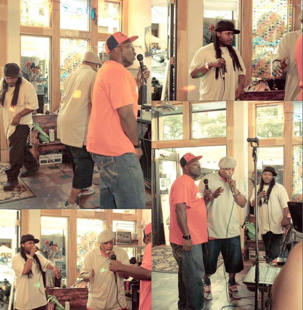 Ohio native hip hop artist Lord Hakim, Phizz Ed, and Doc Gigglz preform @ Tthe vinyl frontier downto by kcphotography614