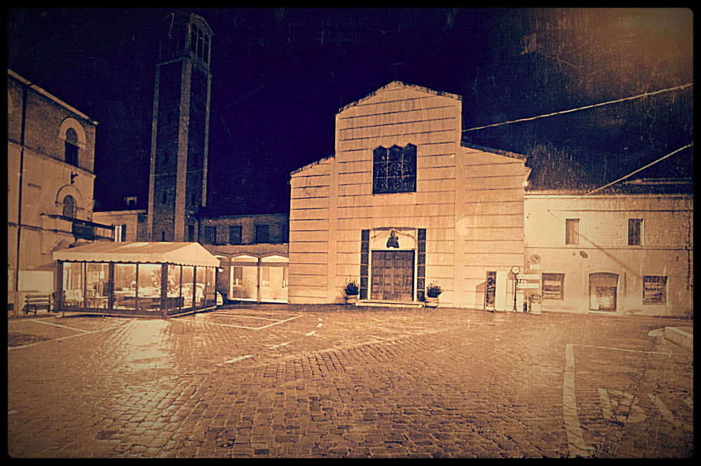 Night at the village square by Claudio Pezzetta