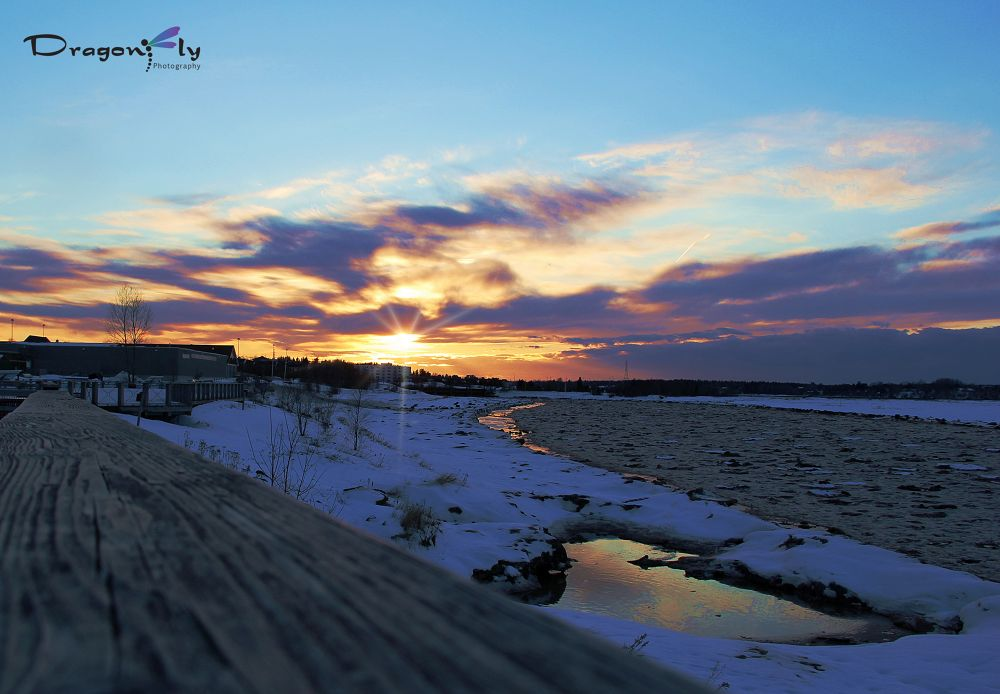 Winter sunset in Riverview New Brunswick by Dragonfly Photography
