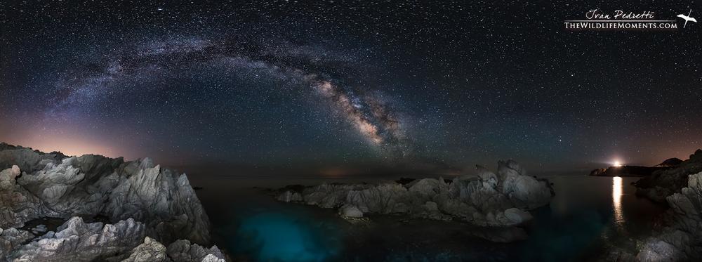 Photo in Astrophotography #milky way #sardegna #sardinia #cala cipolla #nightscape #panoramic #seascape #stars #via lattea