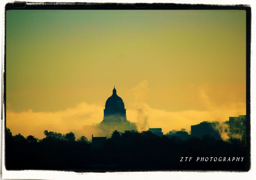 THE CAPITAL WITH FOG OFF THE RIVER  by ZTF PHOTOGRAPHY