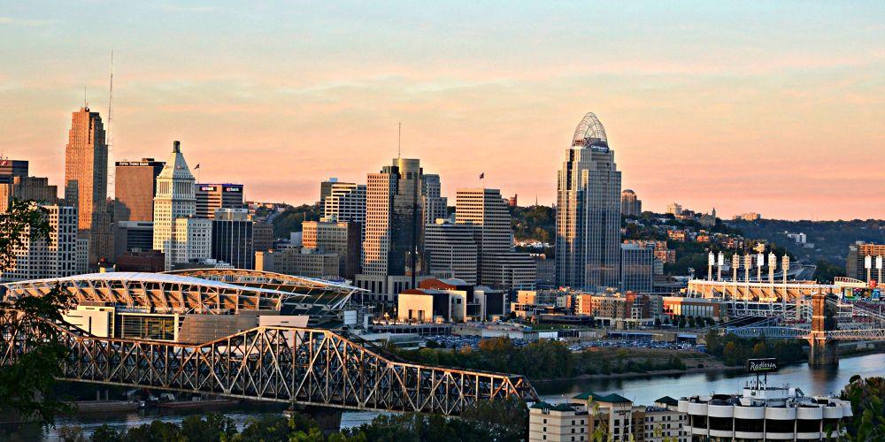 Cincinnati Skyline at Sunset by Shady Photography Studio, LLC