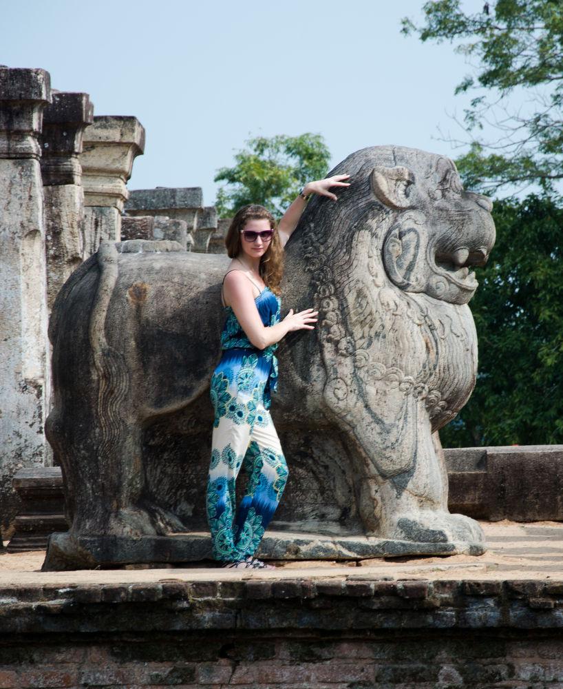 Tourist posing at the ruins of King Nissanka Malla's Palase by Ravindu Randana Wickremeratne