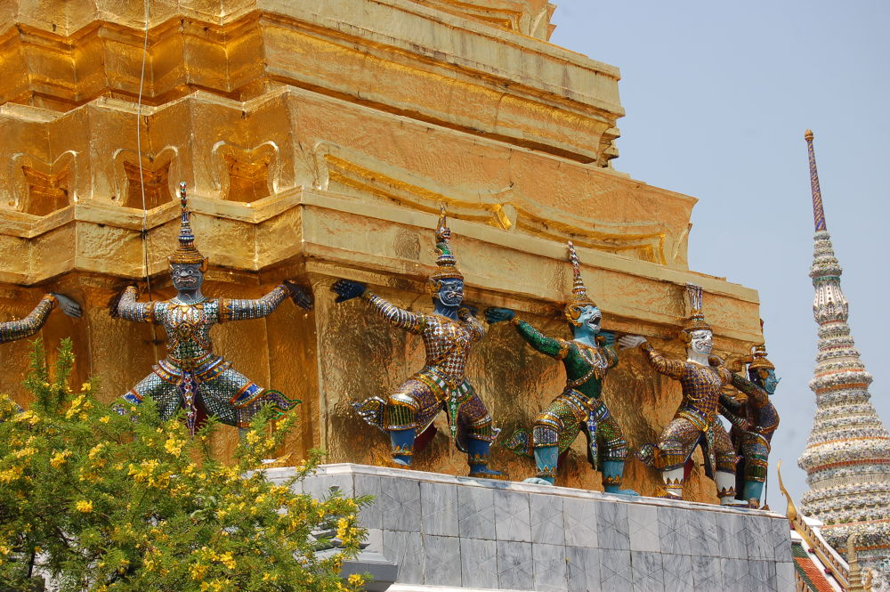 Sculptures at Grand Palace, Bangkok Thailand by overmyer