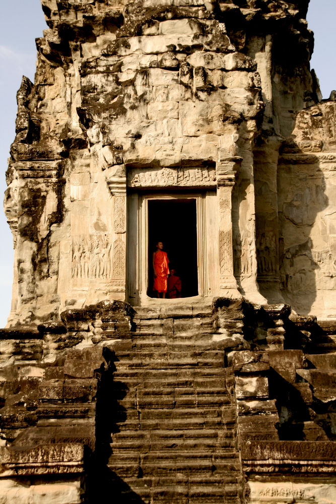 Monks, Angkor Wat by Elena Bellotti