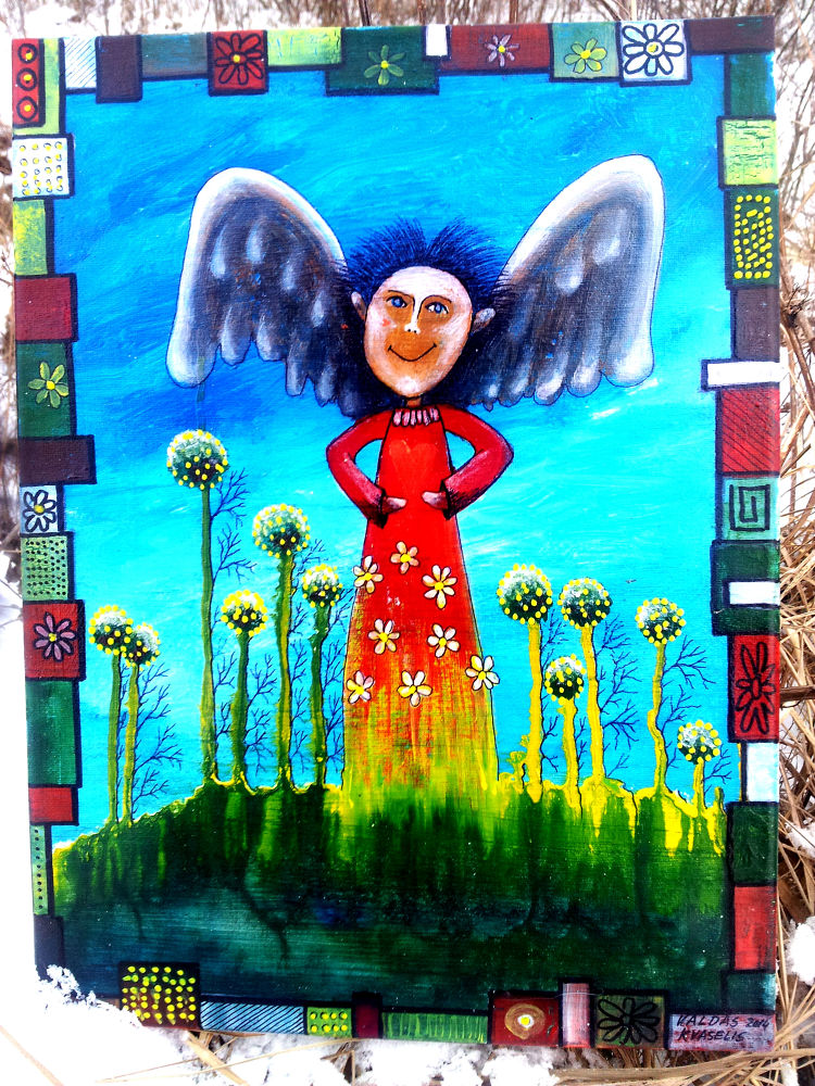 my paintings - angel -acrylic paint on canvas by Valdas Kvaselis