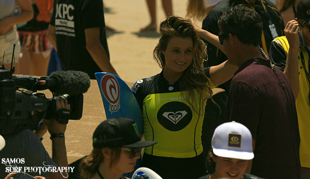 ALANA BLANCHARD BEING INTERVIEWED AT THE ROXY PRO by Samos Surf Photography