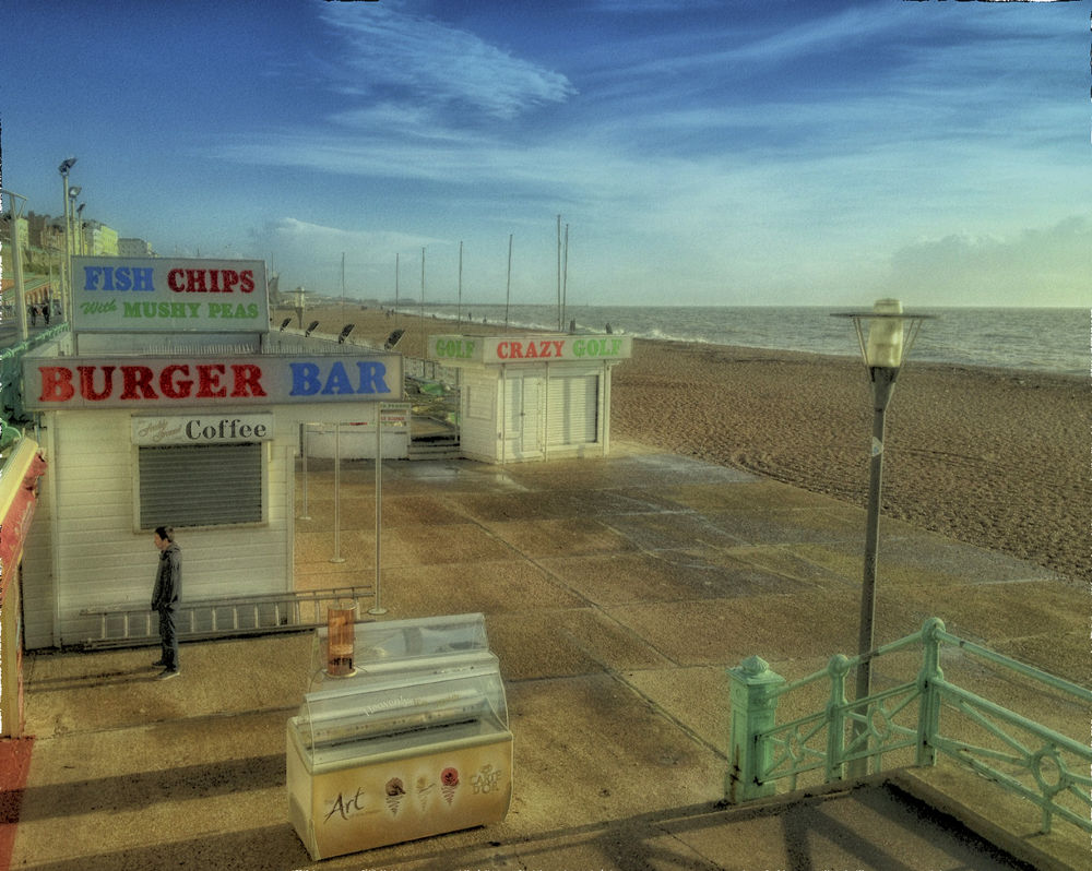 Photo in Random #brighton #closed for winter #fish and chips #january #east sussex #blue skies