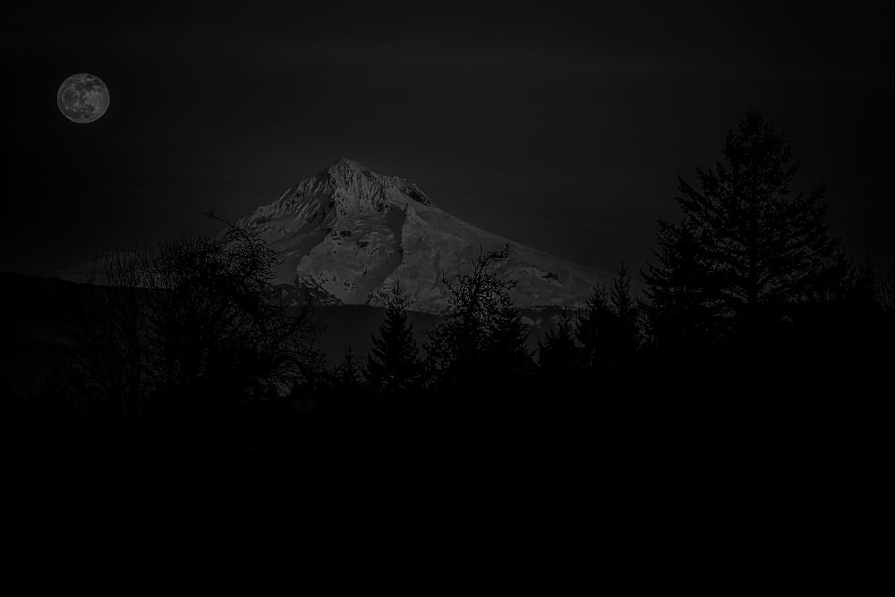 Mt. Hood & Moon by Rod Stroh
