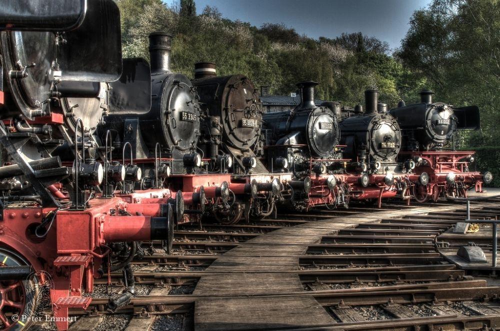 Steam locomotive left by Peter Emmert