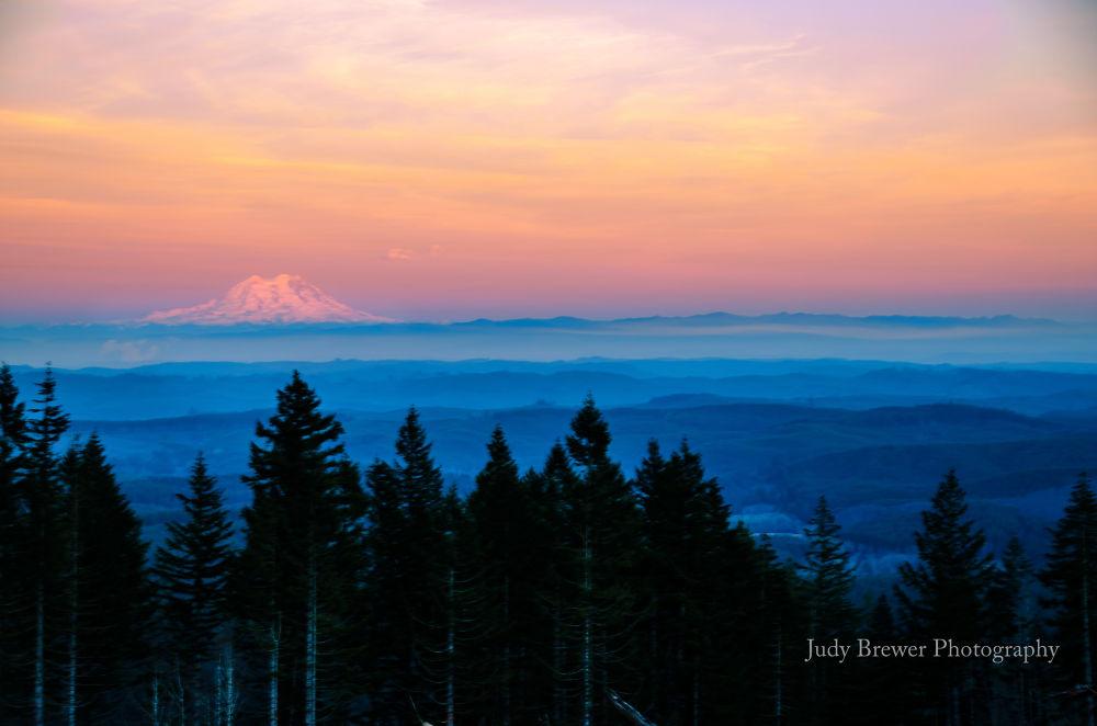 MT. Rainier At Sunset. by Judy Brewer