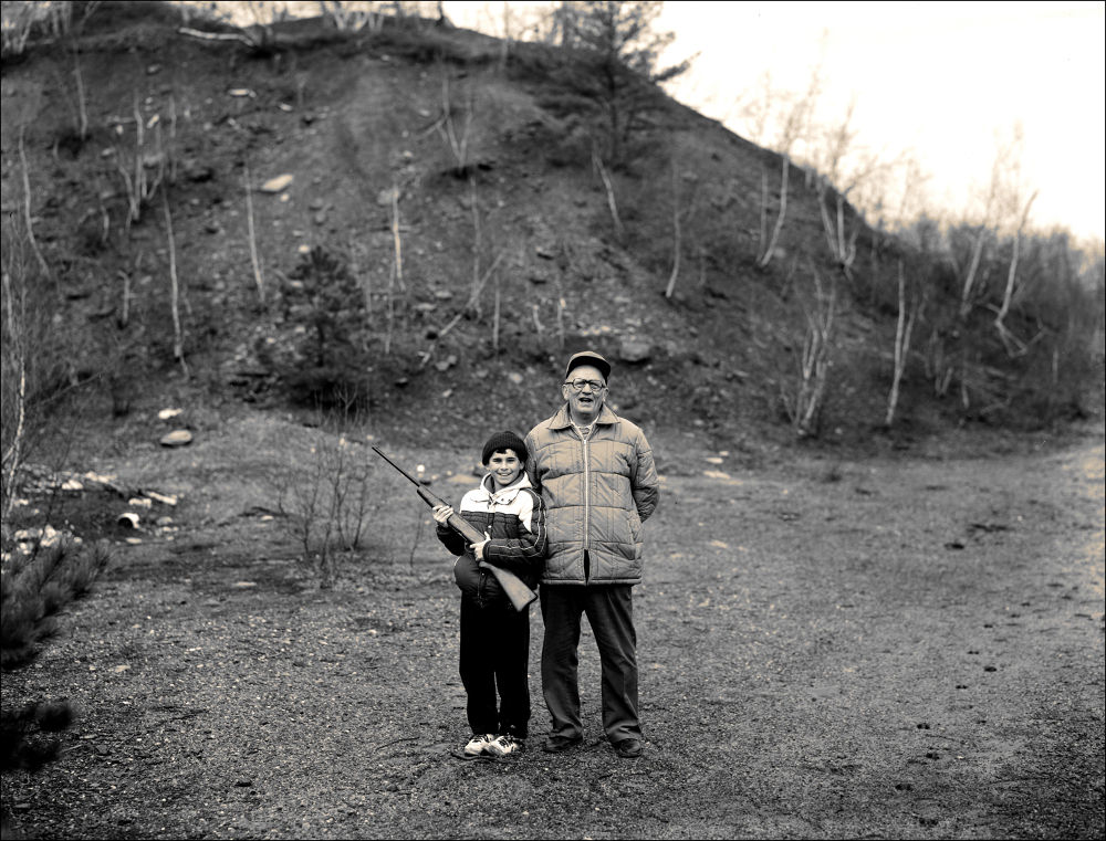 young deer hunter and grandfather by jackbarnosky
